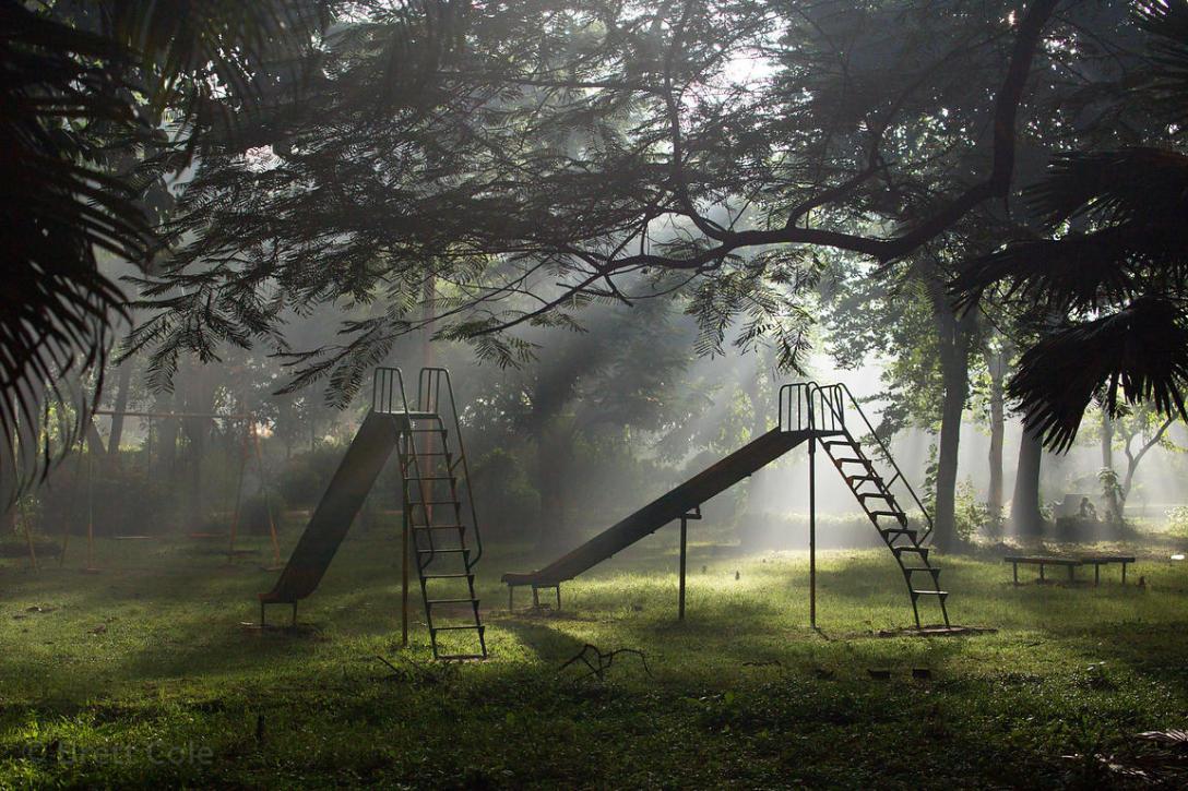 Wonderful foggy night scene at a playground, BBD Bagh, Kolkata, India