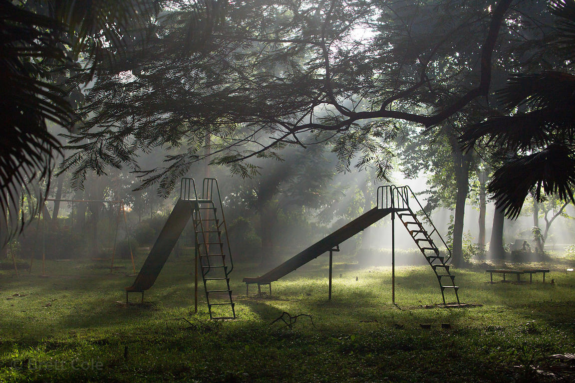 Wonderful foggy night scene at a playground, BBD Bagh, Kolkata, India